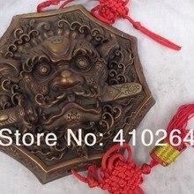 Хороший Скидка$9.6 дюймов Китай Чистая Бронзовый Буддизм Львиная Голова Статуя Маска Бикси Защитите Настенные Амулет