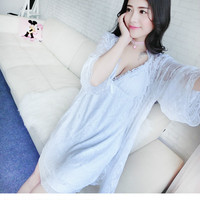 CFYH 2107 New Sexy Wrapped chest Women Robe Set Spaghetti Strap With Bra Nightdress Lace Transparent Robe