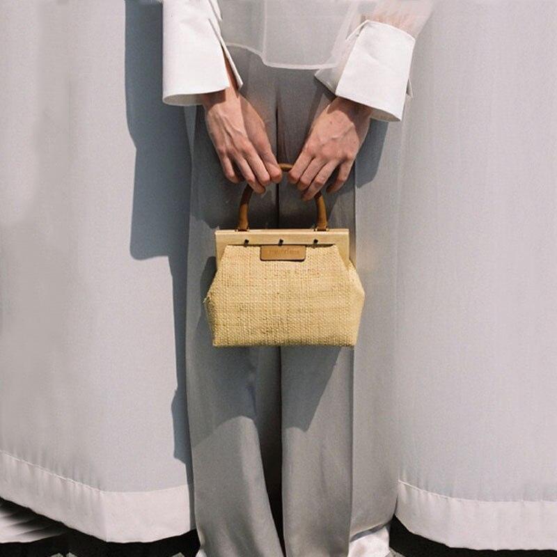 Summer Wooden clip Woven Straw Hard handle Handbag Women Knitting Beach Bag Simple Designer Fashion Wild Platinum Ladies Totes