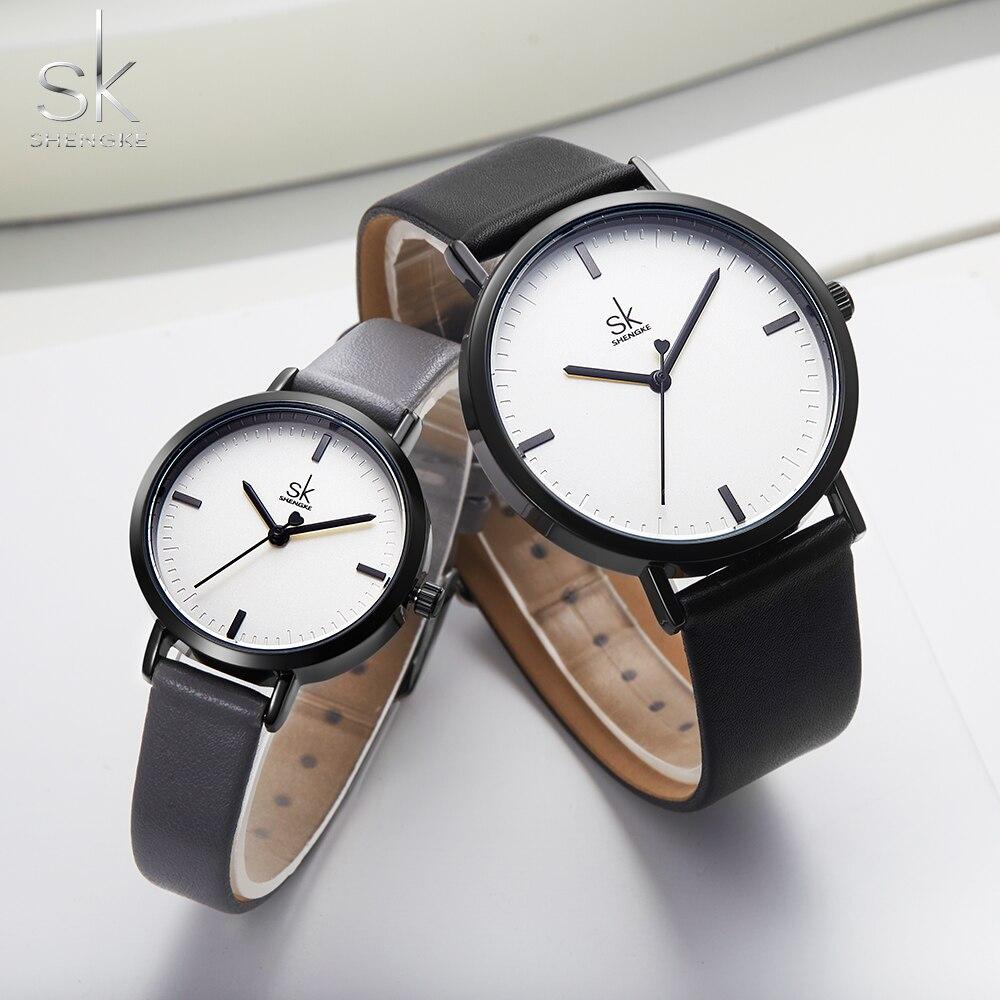 Conjunto de relojes Shengke para hombre y mujer, Reloj de cuarzo con correa de cuero de moda, Reloj de negocios 2019, nuevos relojes de pulsera de marca superior, relojes de pulsera CHENXI, relojes de cuarzo para parejas de amantes de la mejor marca, relojes de San Valentín para mujer, relojes de pulsera impermeables para mujer de 30m