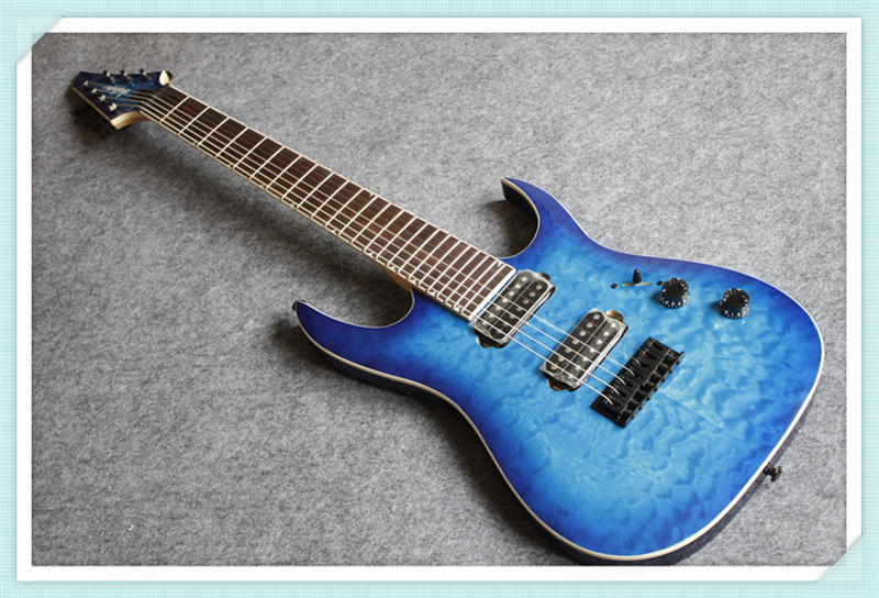 Custom 24 Shop Blue Quilted Finish Jackson 7 String Electric Guitar With Black Hardware Change Color Available цена
