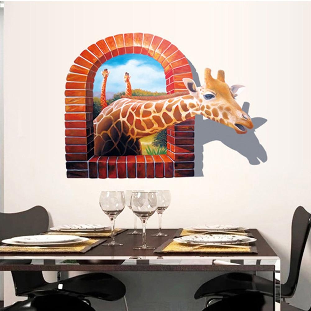 Nice Chambre 3D En Ligne #13: Mur De La Salle Autocollant Supprimer Vinyle Environnement 3D Girafe  Lavande Dauphin 3d Sticker Home Decor