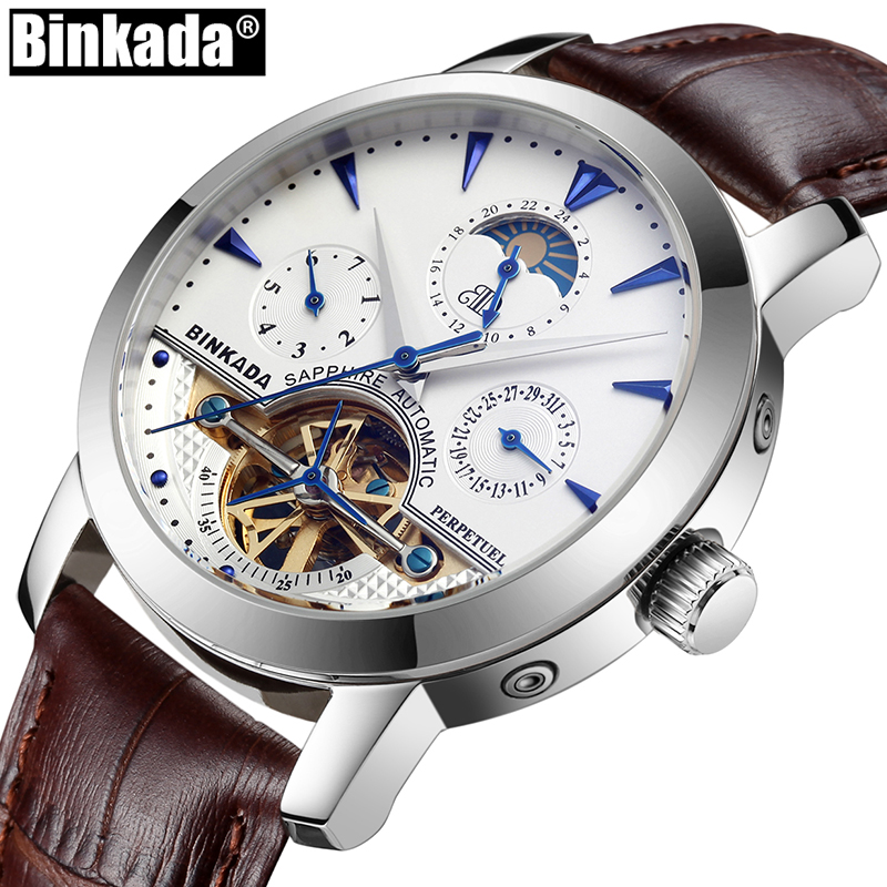 Business Men Mechanical Wrist Watch Luxury Brand Automatic Gold Watch Fashion Male Leather Sport Watches relogio masculino fashion fngeen brand simple gridding texture dial automatic mechanical men business wrist watch calender display clock 6608g