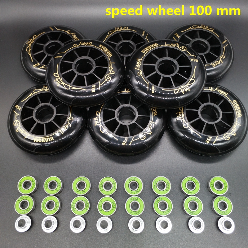 free shipping speed skate wheel 100 mm 85 a 8 pieces lot bearing ABEC 9