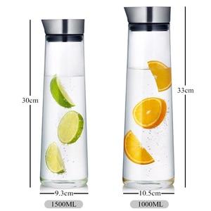 Image 5 - 1/1.5L Large Capacity Heat Proof Transparent Thicken Glass Pitcher with Lid Water Bottle Jar Kettle Juice Bottle Kitchen Teapot