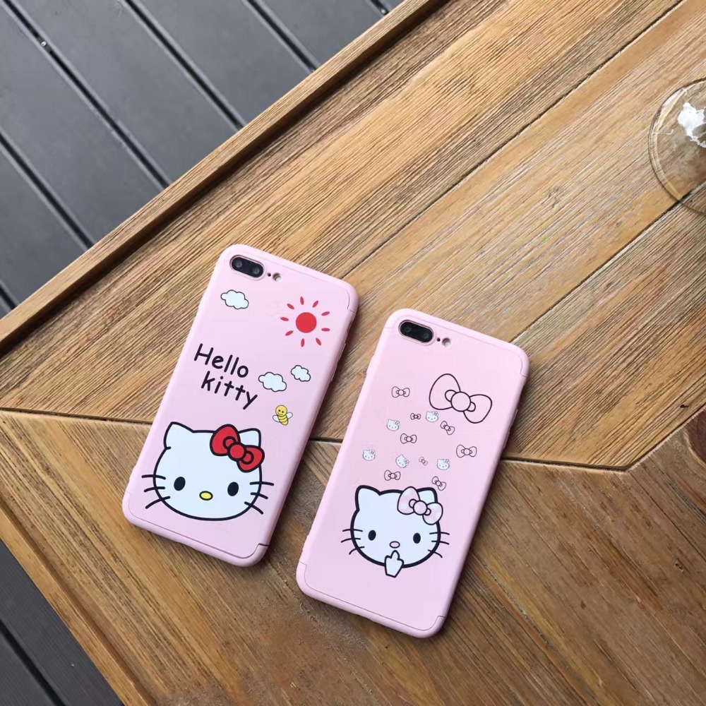 cd0c16dd3 Pink Hello kitty Lovely Cartoon 360 Full protection Case flame for iphone7  7plus 6 6s 6 s Plus 360 full coverage case cover cute