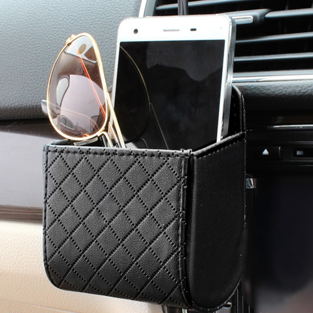 Auto Vent Outlet Trash Box PU Leather Car Mobile Phone Holder Bag Automobile Hanging Box Car Styling Black Brown Beige