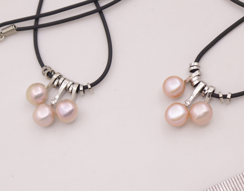 "Купить с кэшбэком Lots 5 PCS Natural Pink Purple Button Pearl Black Rope 3beads Pendant Necklace 18"" Long"