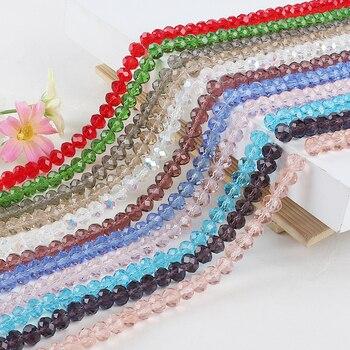 70 Uds. 8mm AB Color Rondelle Austria facetadas cuentas de cristal cuentas espaciadoras sueltas para la fabricación de joyas DIY