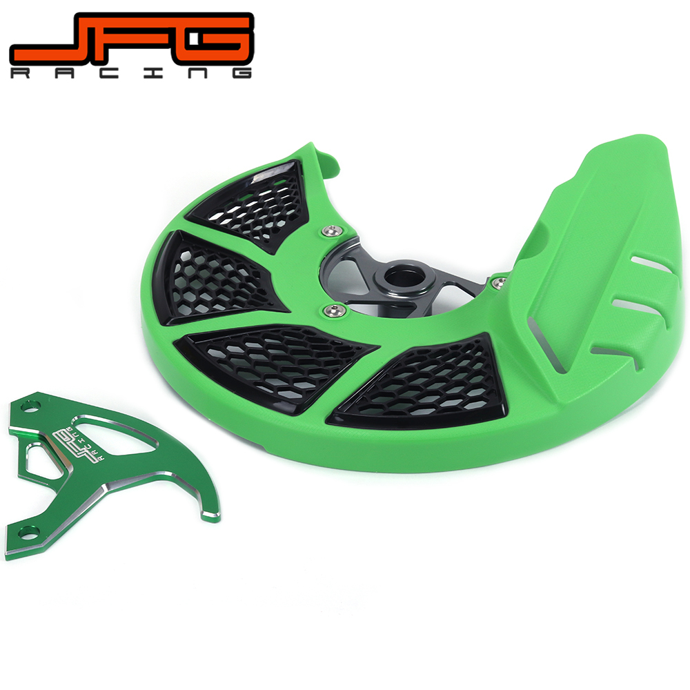 A Set Front & Rear Brake Disc Rotor Guard Protective Cover For KAWASAKI KX 250 KX250F KX450F KX KXF 250 450 KLX450R Dirt Bike cnc pivot foldable clutch brake lever for kawasaki kx125 kx250 kx 125 250 kx250f kx450f kxf 250 450 kd 200 220 kdx200 kdx220