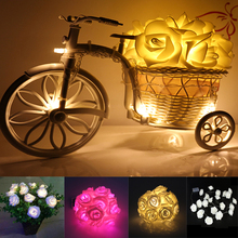 2M 20 Rose Light String Garland Christmas LED Light Decorative for Festival Party Wedding Home Decoration Light 3AA battery