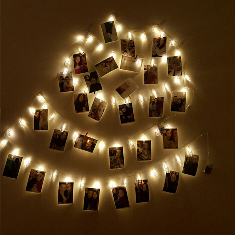 1M 10 LED 2M 20 LED Card Pictures Photos Clips Pegs Bright String Light Lamp Indoor Home Party Festival Decor