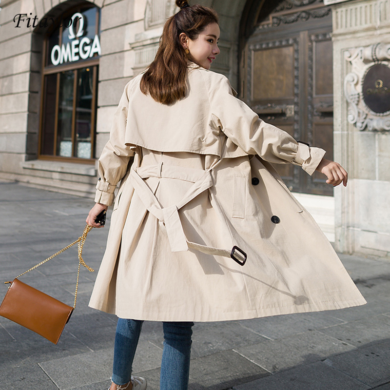 Fitaylor Windbreaker Female 2019 Spring Autumn New Korean Leisure Chic Loose Ladies Harbo Double Breasted Long   Trench   Coat