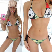 2018 New Bandage Bikini Sexy Swimwear Women Mickey Cartoon Minnie Camouflage Print Bandage Sling Bikini Swimwear