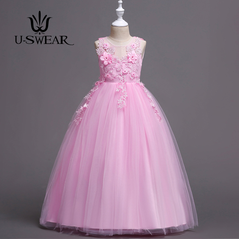 U-SWEAR 2019 New Arrival   Flower     Girl   Pageant Ball Gown Flora O-neck Sleeveless   Flower   Appliqued Lace   Flower     Girl     Dress   Vestido
