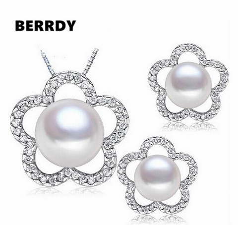 REAL PEARL Freshwater Pearl Jewelry Set Bridal Wedding Jewelry Set 4 Color Necklace Earrings Set with Cultured Pearl