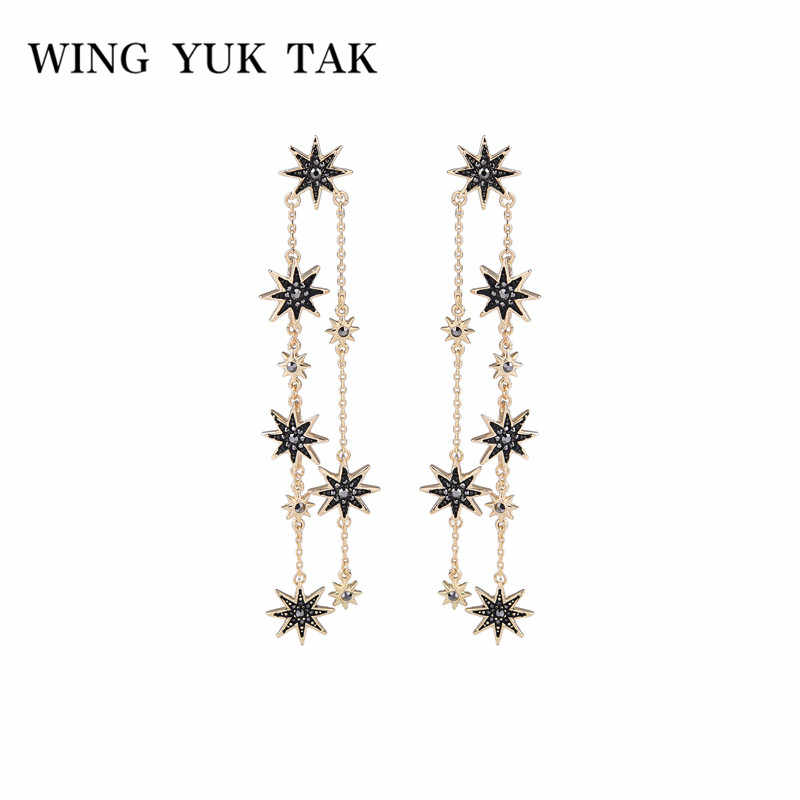 Long Tassel Crystal Star Earrings Black Elegant Ethnic Vintage Drop Dangle Earrings For Women Jewelry