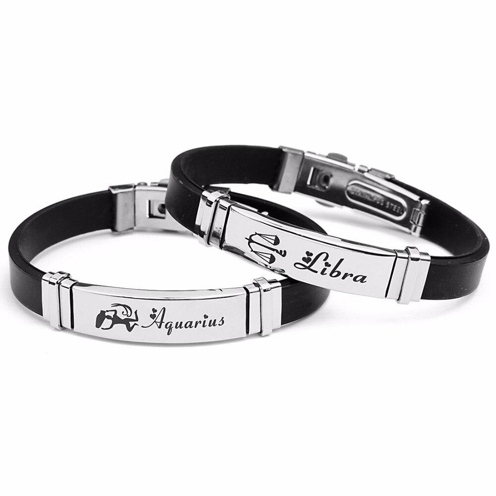 LOULEUR Stainless Steel Silicone Zodiac Sign Bracelet Men Gemini Scorpio Zodiac Virgo Leather Bracelet for Men Women Jewelry in Charm Bracelets from Jewelry Accessories