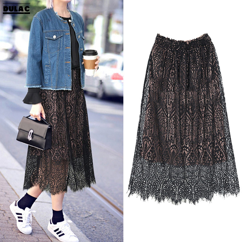 2018 Spring Summer Europe Women Fashion High Waist All-match Large Lady Elegant Dinner Party Long Lace Hollow Pleated Skirts