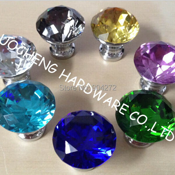 10PCS/ LOT Free Shipping 30mm Colored Diamond Crystal Kitchen Cabinet Knobs  Handles Dresser Cupboard Door Knob Pulls In Cabinet Pulls From Home  Improvement ...