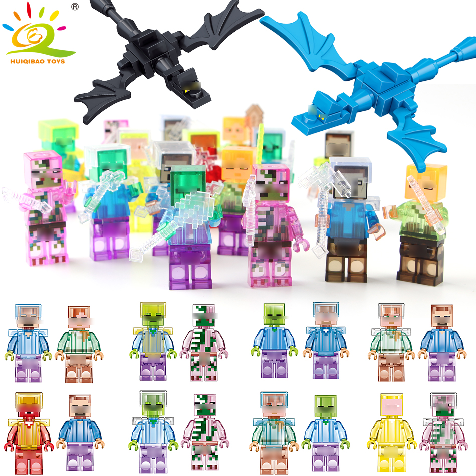 Shadow Dragon Crystal Zombie Steve Skeleton figures Compatible Legoing Minecrafte Building Block DIY Brick Kids Toy for children