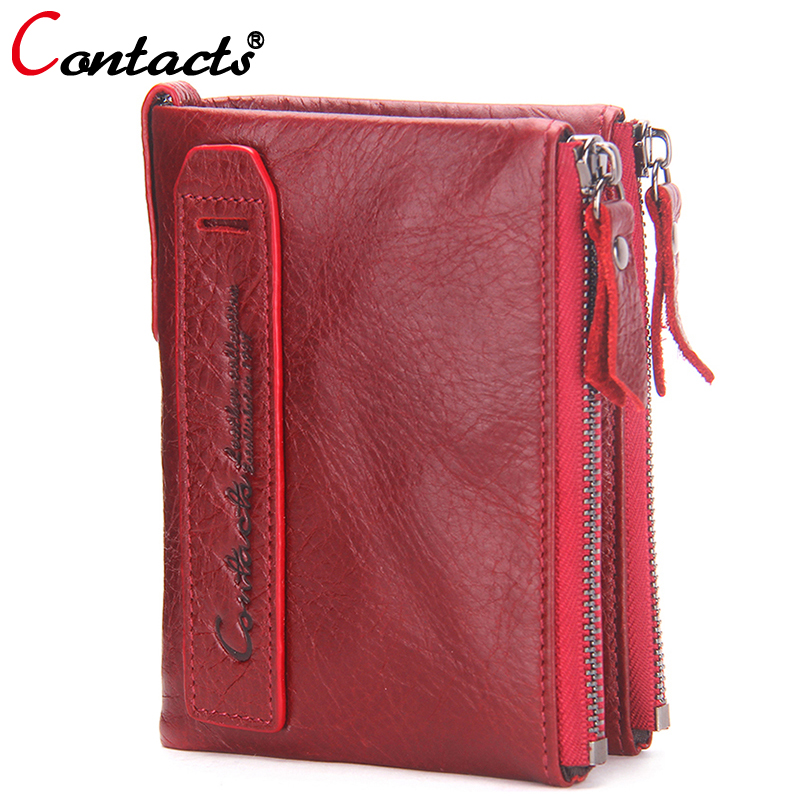 CONTACT'S  Genuine Leather Women Wallet Female Purse Men Wallet Small Zipper Coin Purse Leather Red Credit Card Holder Money Bag brand passport women wallets case travel leather wallet female key coin purse wallet women card holder wristlet money bag small