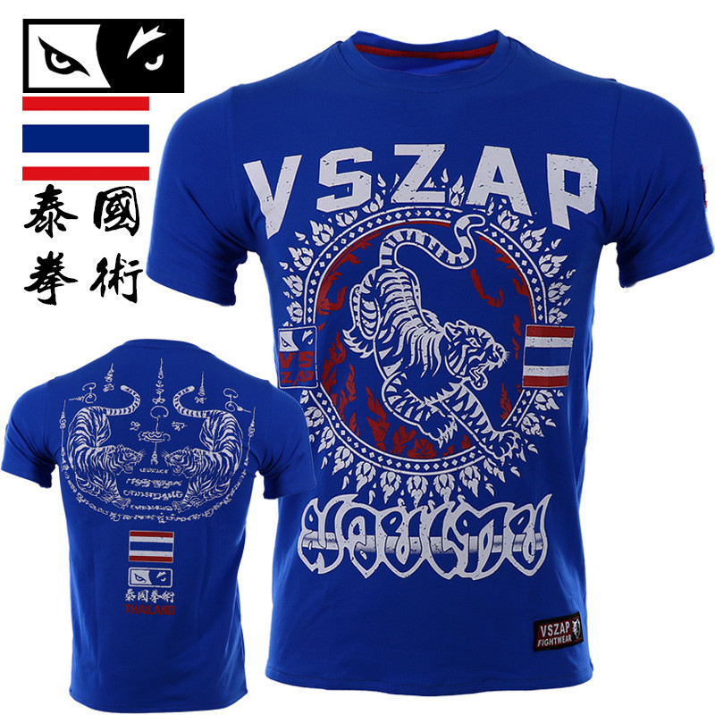 New Tee Shirt Homme VSZAP Tiger Muay Thai Fitness Short-sleeved Men T-shirt MMA Fight Wear Wrestling Tshirt MMA Clothing