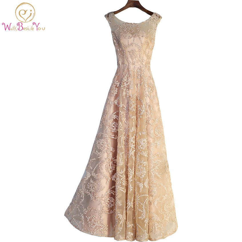 Walk Beside You Vintage Gold Evening Gowns Long Floor Length Lace Vestido Social Robe Longue Femme Soiree Prom Dresses