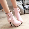 Fashion Women Boots 2017 Square Heel Platforms PU Leather High Pump Boots Ankle boots Bowtie short boots zipper plus size 34-46