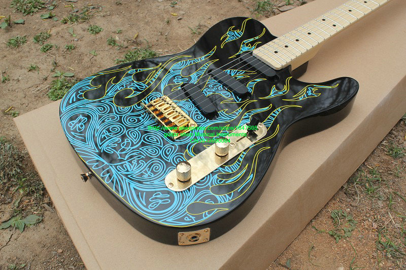 High Quality New Arrival electric guitar Blue flame pattern  factory direct sale  Electric Guitar Free Shipping new arrival chinese electric guitar t5 model top quality in blue free shipping 130315