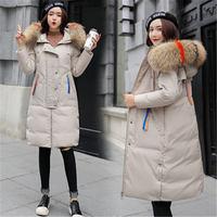 Winter Parka Coats Female 2018 New Korean Slim Long Cotton Padded Down Jackets Fur Collar Hooded Winter Women Jackets X198