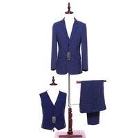 Мужской костюм в синюю полоску мужской костюм (пиджак + брюки + жилет) свадебный жених Жених Мужчины платье на заказ