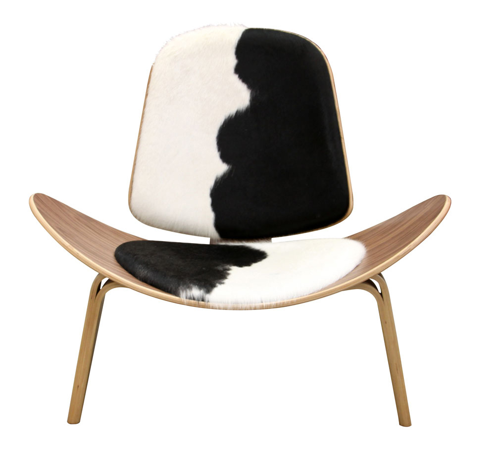 Tripod Plywood Modern Lounge Chair Cowhide Upholstery