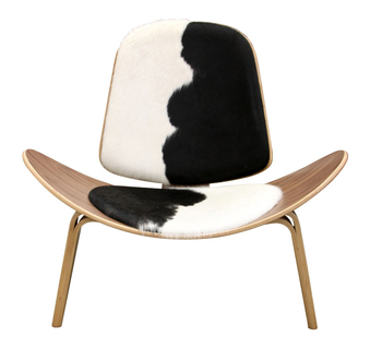 Tripod Plywood Modern Lounge Chair Cowhide Upholstery Living Room Furniture Hans Wegner Leather Shell Design Seat