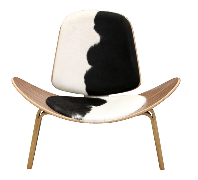 Tripod Plywood Modern Lounge Chair Cowhide Upholstery Living Room Furniture  Modern Hans Wegner Leather Shell Chair