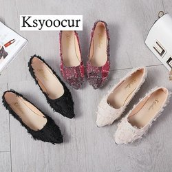 Ksyoocur Women Flats Platform Ladies Elegant pointed Shoes Woman Spring/Autumn Slip On Casual Women's Shoes J010
