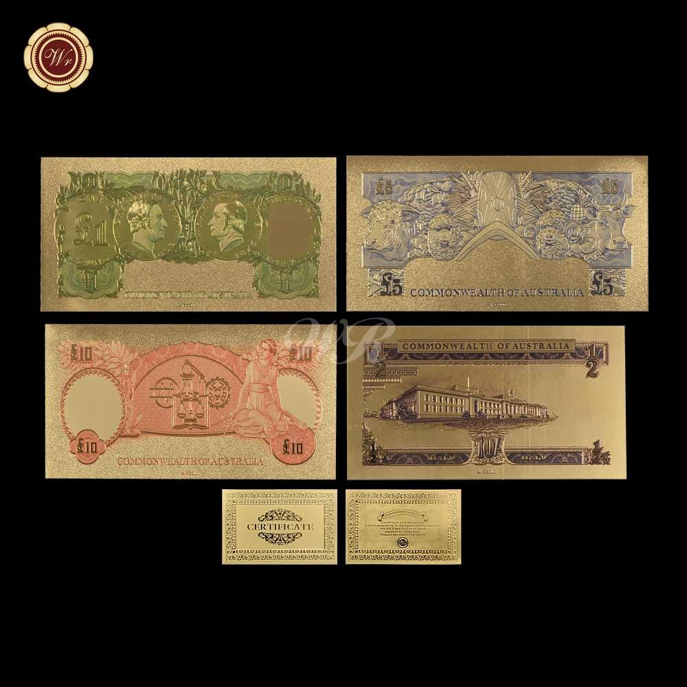 WR Australian Banknote 4pcs Set Coloré Vieux AUD Argent Plaqué - Décor à la maison - Photo 3