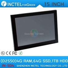 Промышленного класса с сенсорным экраном панели PC 2 мм ультра-тонкий встроенный all in one PC 15 «с Atom D2550 Dual Core 1.86 ГГц