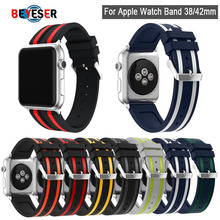 Colorful Sport Soft Silicone Band For Apple Watch Series 1 2 3 4 5 38mm 40mm 42mm 44mm Wrist Bracelet Strap Replacement Bands soft silicone sport band for apple watch series 2 replacement strap for apple iwatch two colors sport band joyozyluxury bands