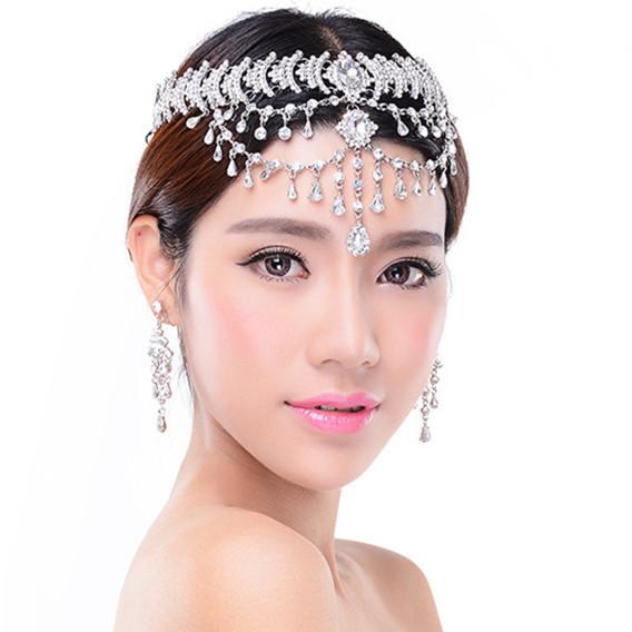 New Romantic joyería nupcial conjunto pelo de la boda accesorios Rhinestone cristalino de la venda / pendientes