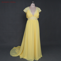2017 Yellow V Neck Beads Straight Crystal Evening Dresses White Chiffon Prom Party Pregnant Gown For