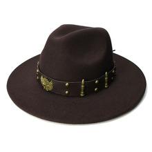 LUCKYLIANJI Retro Women Men Vintage 100 Wool Wide Brim Cap Fedora Panama Jazz Bowler Hat Two