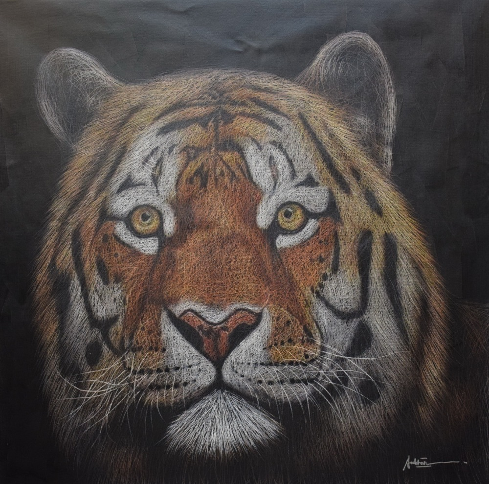 Origina HandPainted Animal Oil Painting on Canvas Palette Knife Net Shape Tiger Canvas Painting Wall Art - Obrázkek zdarma pro Home Decor
