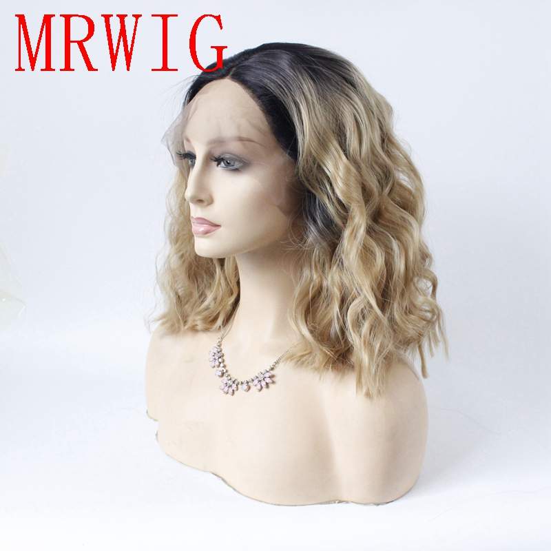 MRWIG short bob straight 1b#/#27 blonde synthetic glueless front wig 12in real hair natural looking