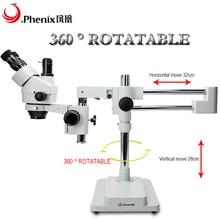 Phix 3.5X-90X зум стерео тринокулярный микроскоп+ светодиодный светильник кольцо для хирургической практики, PCB/мобильный телефон ремонт микроскопа
