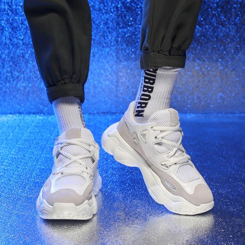 Grossa Até Ao Plataforma Beige Branco Homens Sneakers Livre Da Misalwa Men Casuais Rendas De Novo Sneakers Preto Sola white Sneakers Sapatos black Confortável Ar Chegada 2019 Tênis Moda Bege 8aCCzqZw