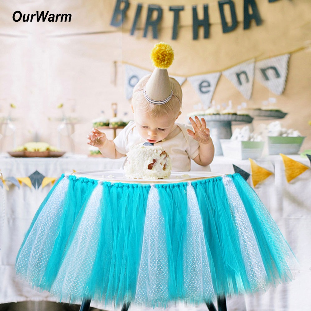 Ourwarm Boy Girl Tutu Tulle Skirt High Chair Cover Cloth Baby