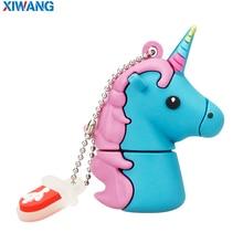 XIWANG USB Flash Drive 128GB Real capacity Pendrive 64GB 32GB 16GB 8GB4GB Cartoon lovely Horse Pen drive USB Stick free shipping