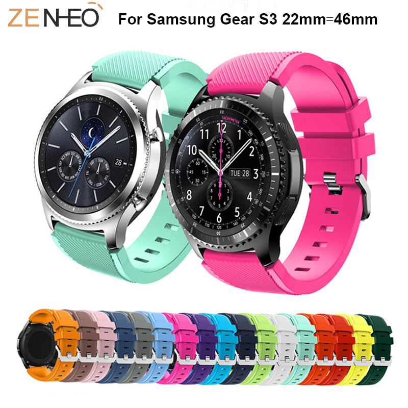 18 colors Watchbands Silicone Strap For Samsung Gear S3 smart watch Replacement straps For Samsung Galaxy Watch 46mm wristband in Watchbands from Watches