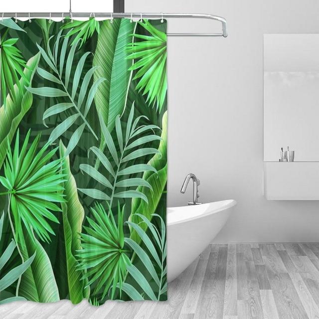 Tropical Plant Bathroom Curtain 60x72 inch Long Green Leaves ...